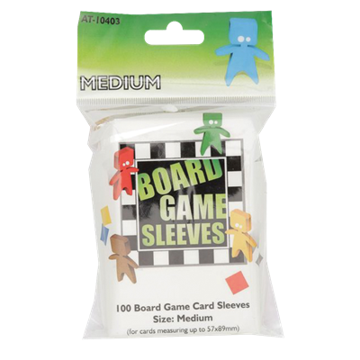 100 Board Game Sleeves : Clear Medium 57x89mm (10)